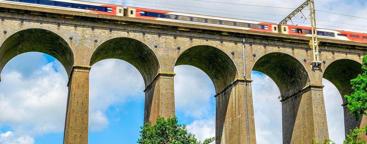 Hertfordshire train on overhead bridge