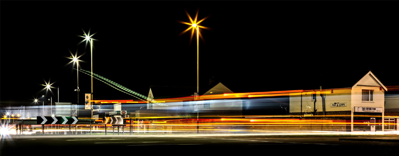 Magic Roundabout in Swindon at Night