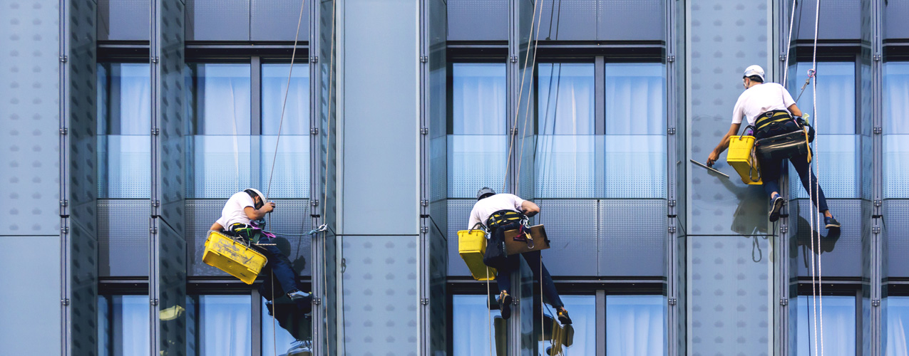 Cleaning office windows